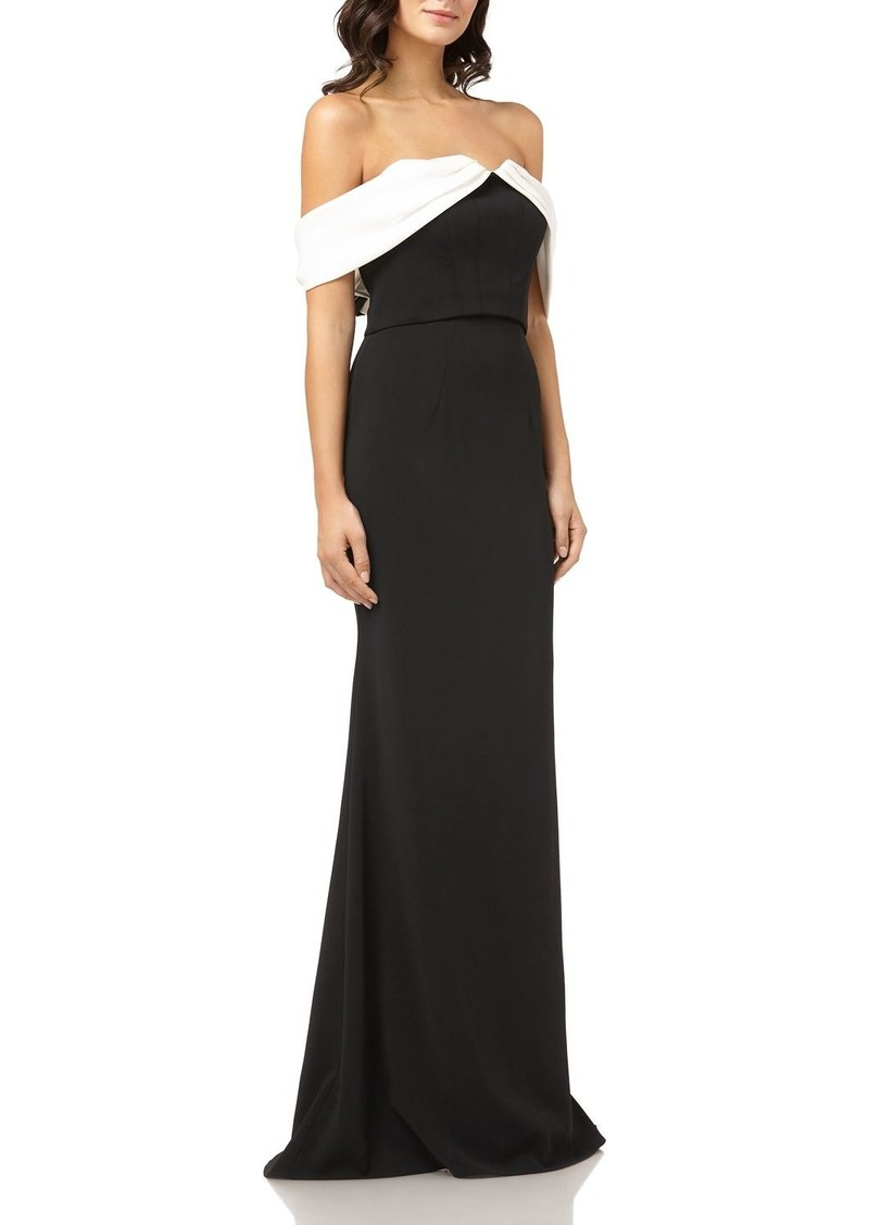 Carmen Marc Valvo Off-the-Shoulder Crepe Gown