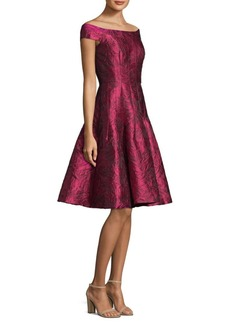 Carmen Marc Valvo Off-The-Shoulder Floral Lace Dress