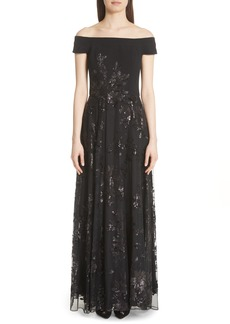 Carmen Marc Valvo Off the Shoulder Gown