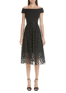 Carmen Marc Valvo Off the Shoulder Midi Dress