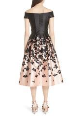 Carmen Marc Valvo Off the Shoulder Midi Dress