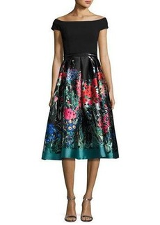 Carmen Marc Valvo Off-the-Shoulder Ponte & Taffeta Cocktail Dress