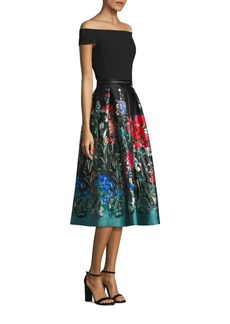 Carmen Marc Valvo Off-the-Shoulder Printed Fit & Flare Dress