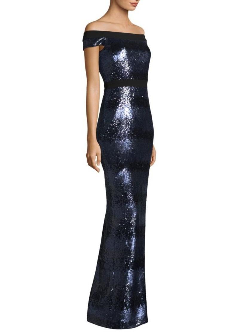 Carmen Marc Valvo Off-The-Shoulder Sequin Gown