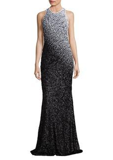 Carmen Marc Valvo Ombre Sequin Gown