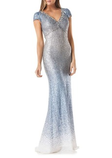 Carmen Marc Valvo Ombre Sequined Mermaid Gown