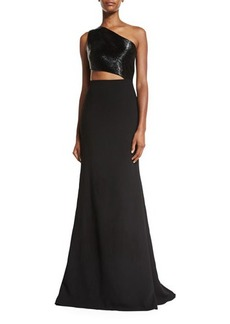 Carmen Marc Valvo One-Shoulder Asymmetric Beaded Crepe Gown