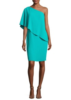 Carmen Marc Valvo One-Shoulder Asymmetric Popover Cocktail Dress