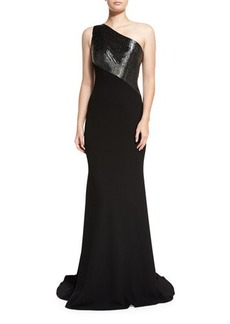 Carmen Marc Valvo One-Shoulder Beaded Crepe Gown