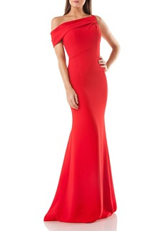 Carmen Marc Valvo Infusion One-Shoulder Crepe Gown