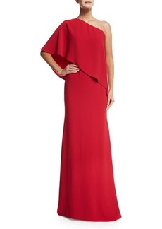 Carmen Marc Valvo One-Shoulder Crepe Gown