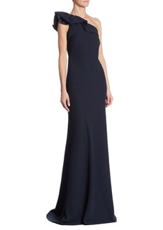 Carmen Marc Valvo One-Shoulder Crepe Ruffled Gown