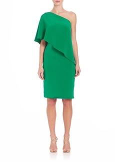 Carmen Marc Valvo One-Shoulder Draped Dress