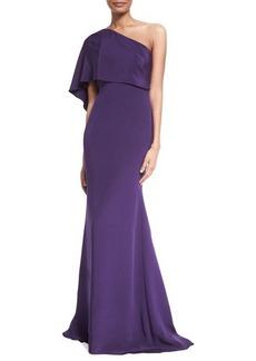 Carmen Marc Valvo One-Shoulder Draped Gown