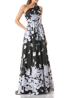 66211d49e707e Carmen Marc Valvo One-Shoulder Floral Organza Ball Gown