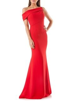 Carmen Marc Valvo One-Shoulder Mermaid Gown