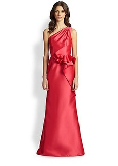Carmen Marc Valvo One-Shoulder Twill Peplum Gown