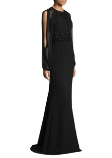 Carmen Marc Valvo Open-Sleeve Gown