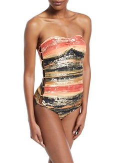 Carmen Marc Valvo Pacific Sunset Bandeau One-Piece Swimsuit with Metallic