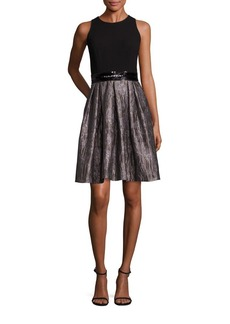 Carmen Marc Valvo Pleated A-Line Dress