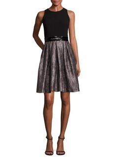Carmen Marc Valvo Pleated A-Line Dress