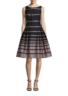 Carmen Marc Valvo Pleated Scallop Dress