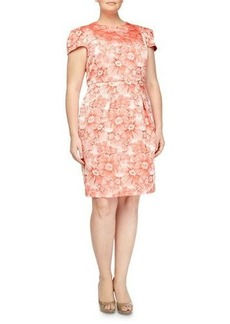 Carmen Marc Valvo Rose-Jacquard Cap-Sleeve Dress