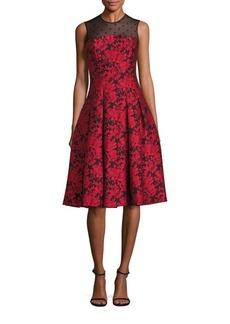 Carmen Marc Valvo Point D'Esprit Jacquard Dress