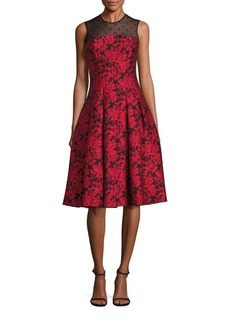 Carmen Marc Valvo Point D'Esprit Jacquard Dress