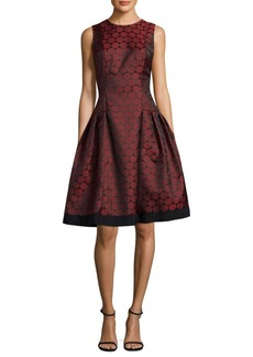 Carmen Marc Valvo Polka Dot Jacquard Dress