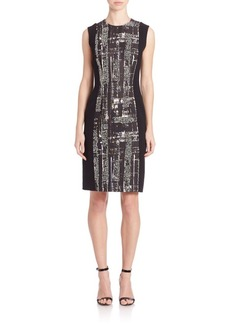 Carmen Marc Valvo Printed Beaded Faille Cocktail Dress