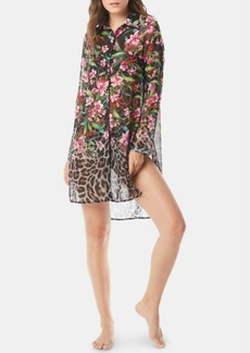 Carmen Marc Valvo Printed Dress-Shirt Cover-Up Women's Swimsuit