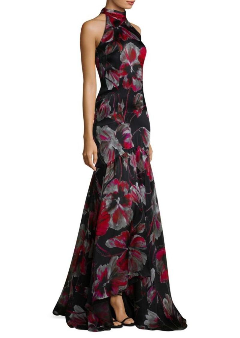 Carmen Marc Valvo Printed Halter Gown