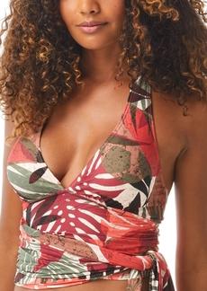 Carmen Marc Valvo Printed Halter Tankini Top Women's Swimsuit