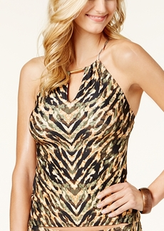 Carmen Marc Valvo Reflections High-Neck Tankini Top Women's Swimsuit