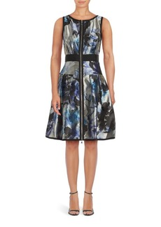 Carmen Marc Valvo Reversable Floral Print Dress