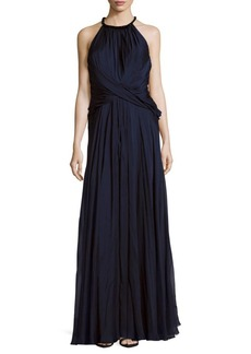Carmen Marc Valvo Rouched Halter Silk Dress