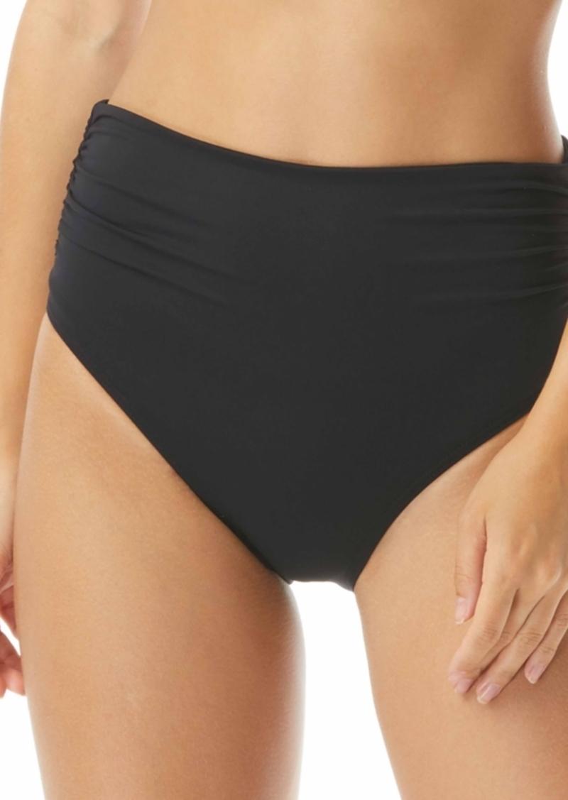 Carmen Marc Valvo Ruched High-Waist Convertible Tummy Control Bikini Bottoms Women's Swimsuit