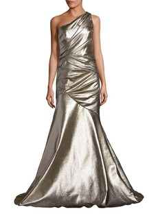 Carmen Marc Valvo Ruched One-Shoulder Gown