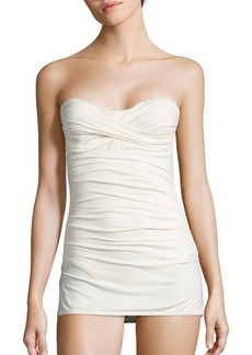 Carmen Marc Valvo Ruched Strapless Swimdress