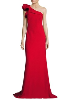 Carmen Marc Valvo Ruffle Crepe One-Shoulder Gown
