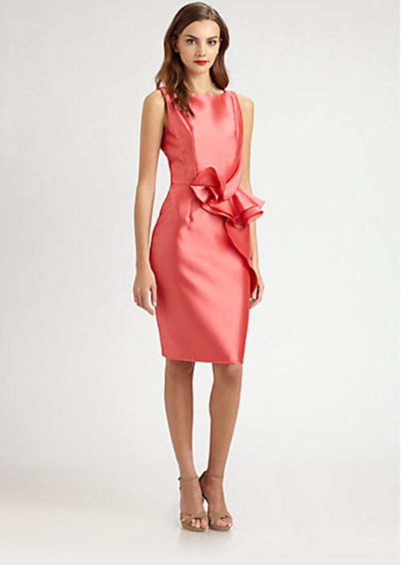 Carmen Marc Valvo Ruffle-Front Twill Dress