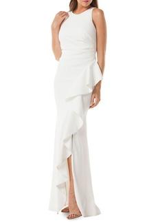 Carmen Marc Valvo Ruffled Floor-Length Gown