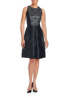 Carmen Marc Valvo Sequin Embellished Sleeveless Dress