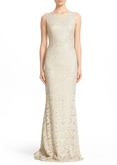 Carmen Marc Valvo Sequin Lace Column Gown