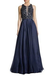 Carmen Marc Valvo Sequin Leather Embellished Gown