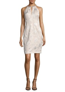 Carmen Marc Valvo Sequined Embroidered Dress