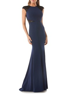 Carmen Marc Valvo Sequined Mesh Gown