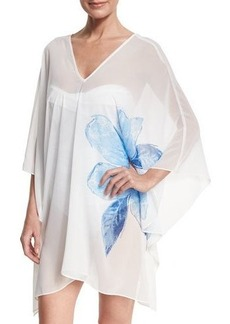 Carmen Marc Valvo Sheer Swim-Coverup Caftan
