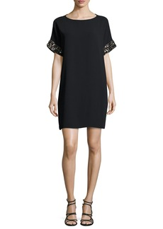 Carmen Marc Valvo Short-Sleeve Beaded Crepe Mini Dress